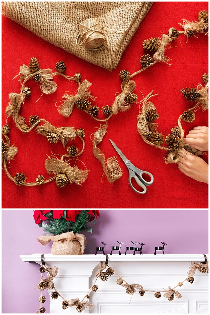 We transformed some of your favorite craft materials into rustic holiday decor that's easy to make! Make these pinecone garlands for your tree, fireplace mantel or bookshelf with this link to an online shopping list.
