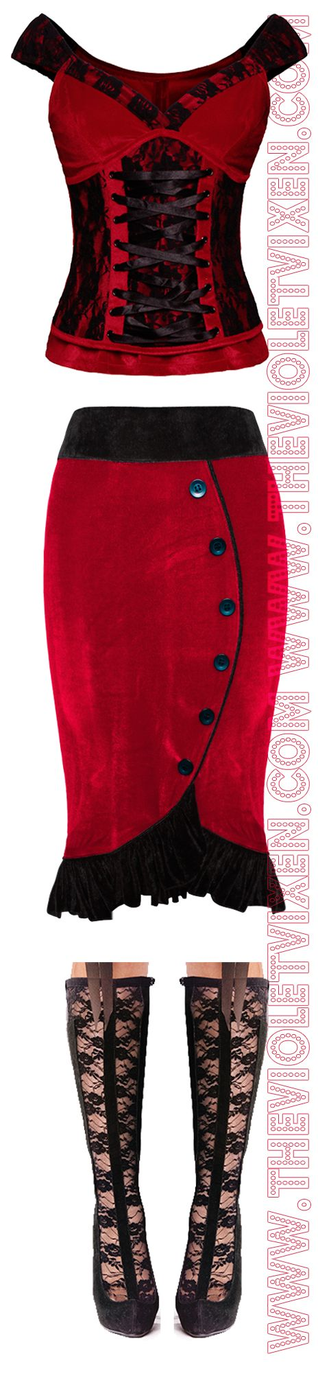 Velvet, lace, ruffles and more lace!! Love this combo!  Top --> http://thevioletvixen.com/clothing/laced-velvet-crush-red-top/ Skirt --> http://thevioletvixen.com/clothing/sashas-sweet-shorty-red-skirt/ Boots --> http://thevioletvixen.com/shoes/a-discreet-lace-tryst/