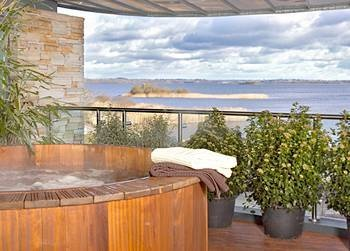 The hot tub, overlooking the lake