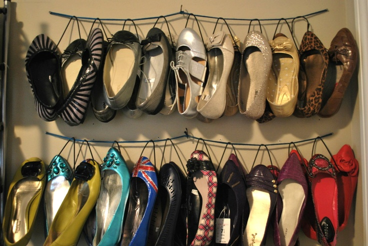 Simple DIY hanging shoe organizer. I thought I had a lot of shoes, but this girl has me beat!
