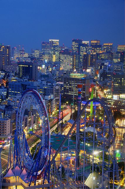 Japan:  The Tokyo city skyline at night.
