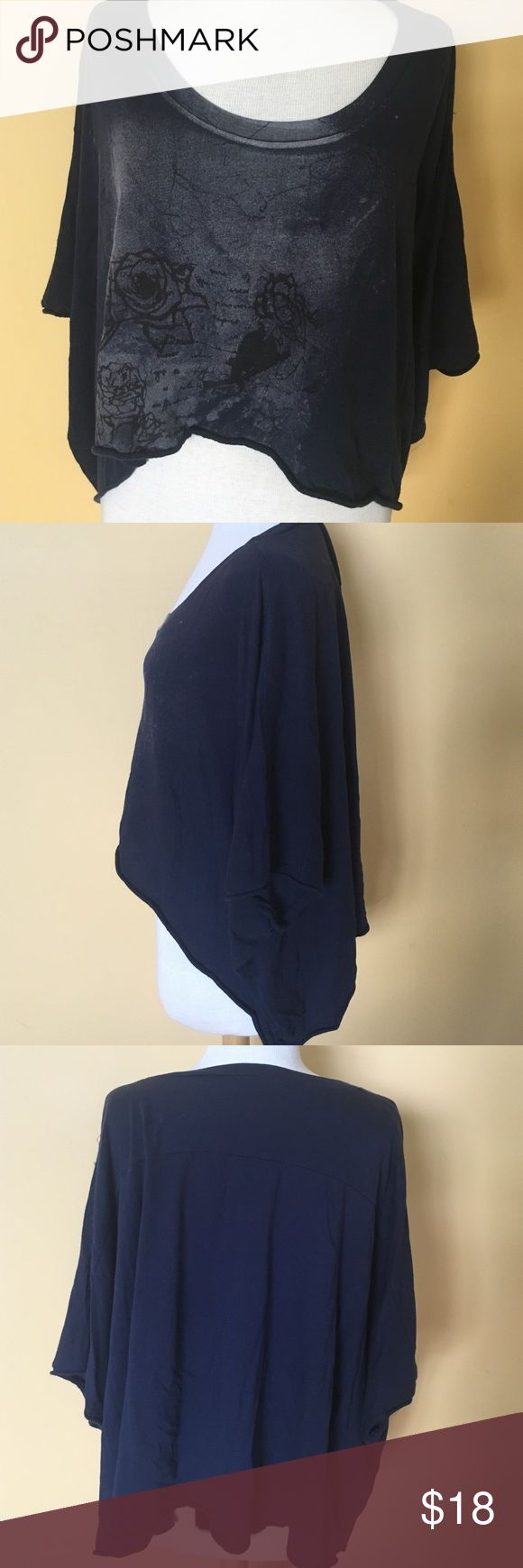 Free People t shirt Free People We the Free top, size xs/s in navy blue, raw edges, batwing sleeve, EUC Free People Tops Tees - Short Sleeve