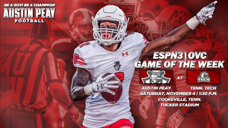 APSU Governors Football game against Tennessee Tech Golden Eagles selected for ESPN3