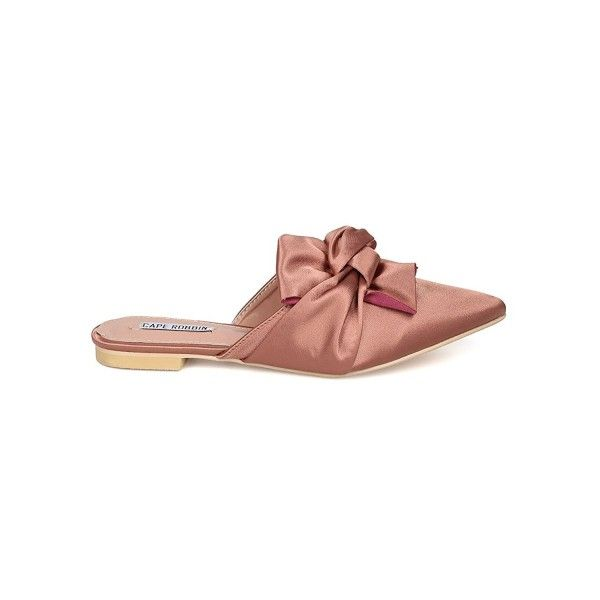 f241cdc41 Women Knotted Flat Mule - Bow Slip on Sandal - Pointy Toe Slide ...