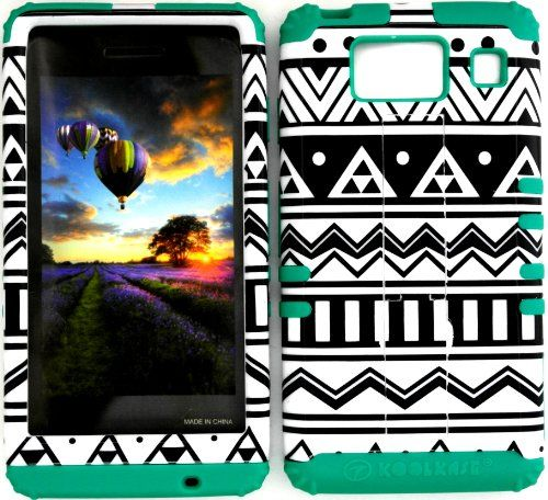 Hybrid Impact Rugged Black and White Aztec Tribal Case on Teal Skin for Motorola Droid Razr Maxx HD XT926M by Verizon (Not for Droid Razr Maxx):Amazon:Cell Phones & Accessories