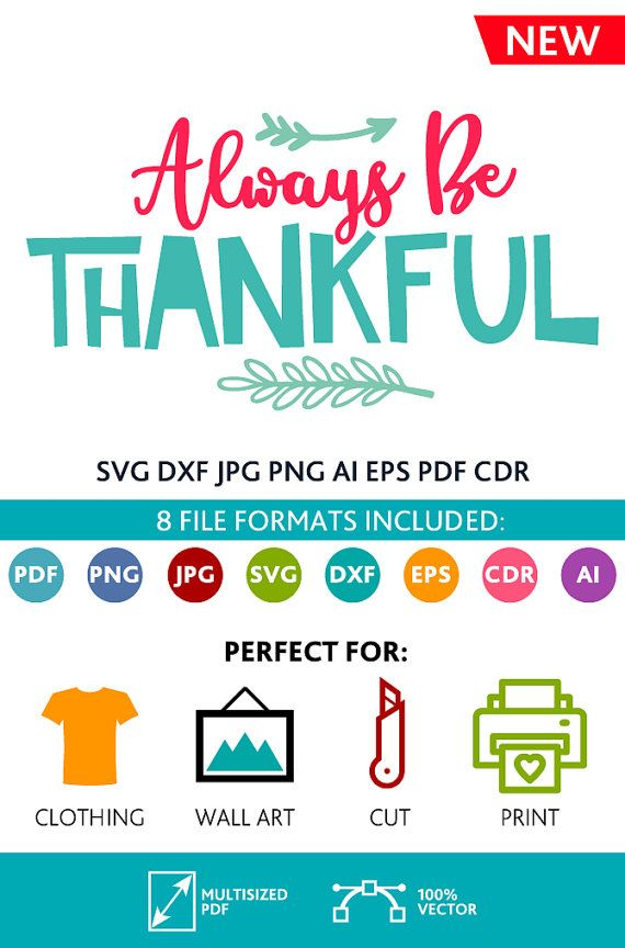Always Be Thankful SVG Cut Files Wall Art Quote Printable Art Decor room Art Printable Poster digital (Svg Dxf Cdr Eps Ai Jpg Pdf Png)