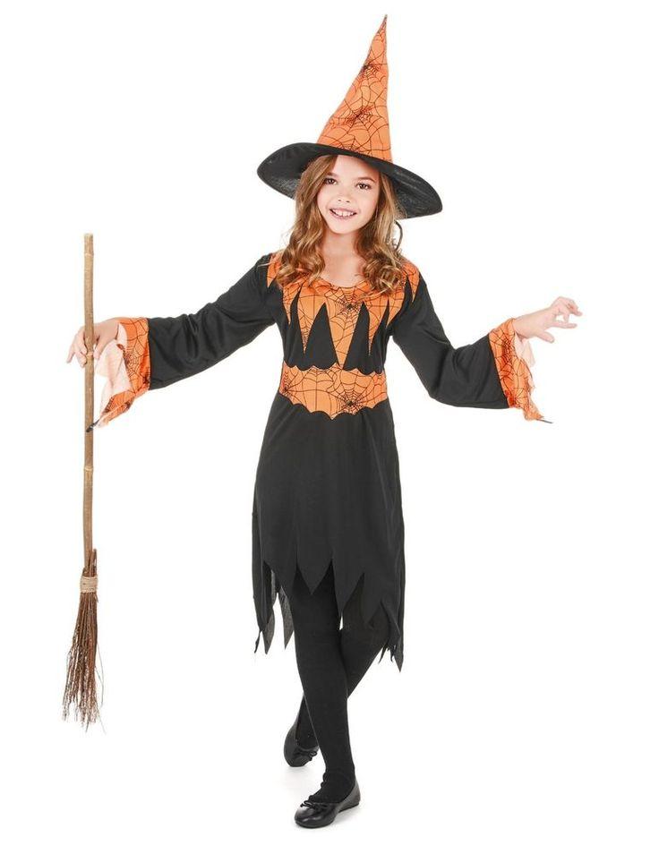 Halloween déguisement fille Sorcière orange Taille 4 à 12 ans