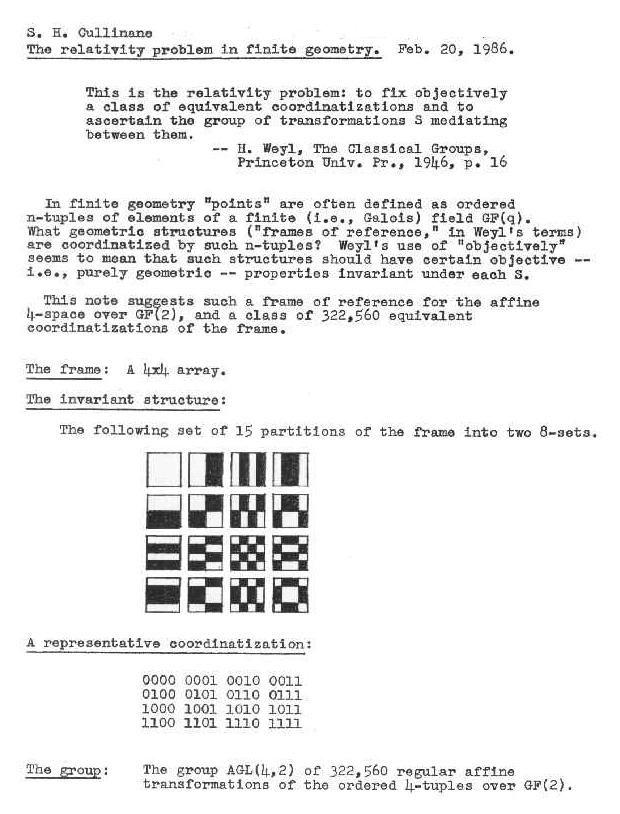 The relativity problem in finite geometry (Feb. 20, 1986).