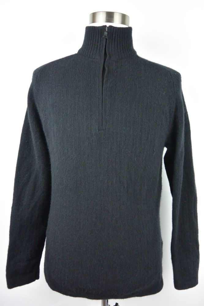 Banana Republic XL Lambswool Cashmere Mens Half Zip Sweater Black Elbow Pad #886 #BananaRepublic #12Zip