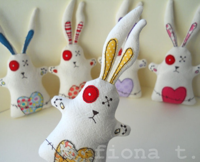 22 best folksy finds alternative easter gifts images on pinterest embroidered zombie easter bunnies 1200 by fiona t on folksy negle Image collections
