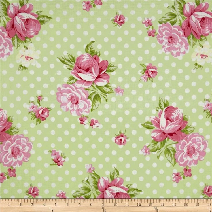 Green And Pink Roses pale green back...