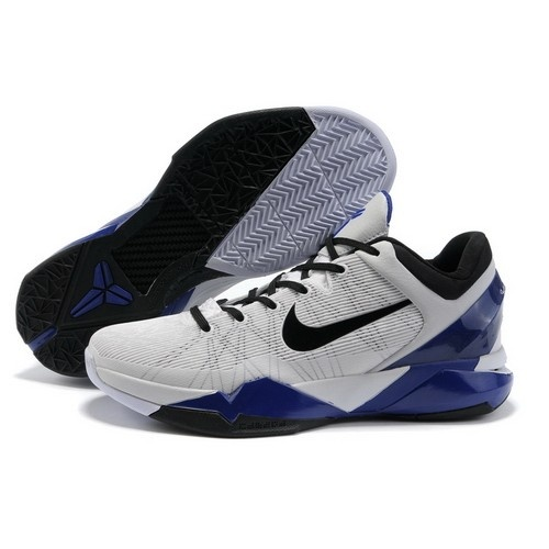 Unique Nike Zoom Kobe 7 VII White/Mineral Blue-Black Men Basketball Shoes For
