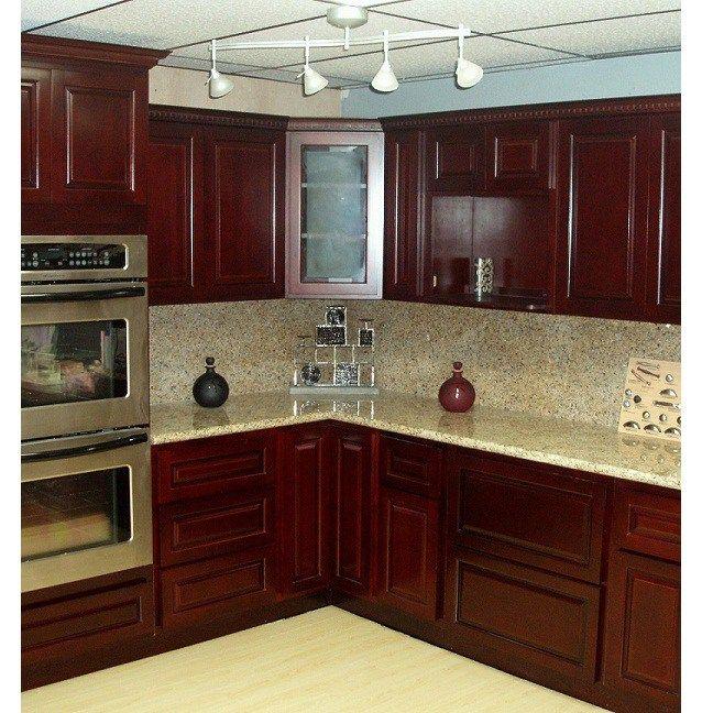Lovely Cherry Cabinets Kitchen Dark Wood Interior Design White Shaker