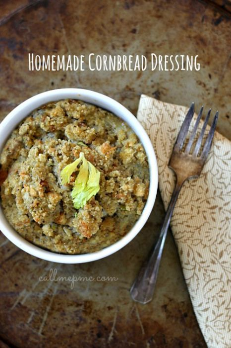 Homemade Southern-style Cornbread Dressing #callmepmc - Made from homemade cornbread, this dressing (stuffing) is perfectly seasoned and deliciously moist.