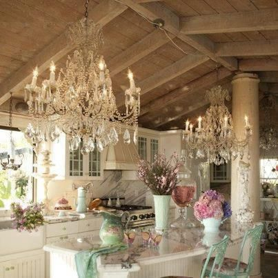 Not one but two chandeliers in this pretty cottage for What does shabby mean