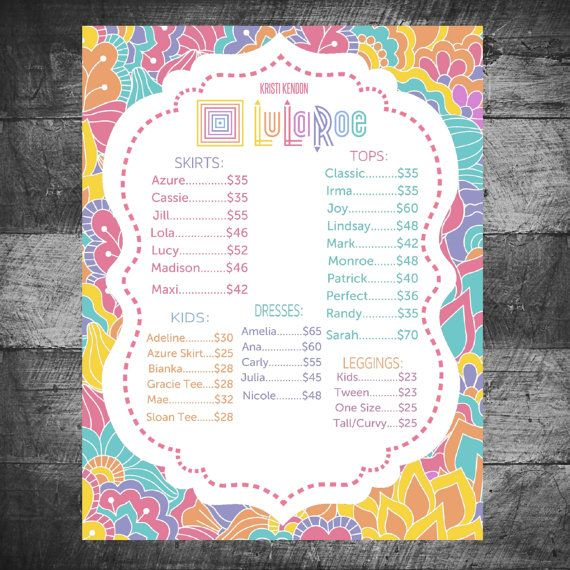 photo regarding Lularoe Price List Printable identified as Lularoe Expense Checklist 2017 thelulabunch -