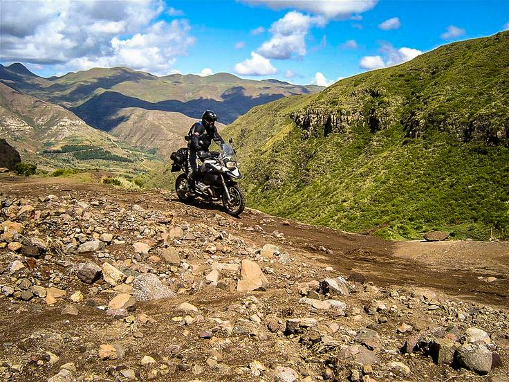 Exploring Lesotho Africa by motorcycle. Most beautiful and spectacular views riding around the remote mountain in Lesotho.