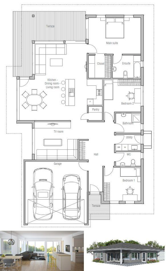 Modern house plan to narrow lot house plan from for Modern one bedroom house plans