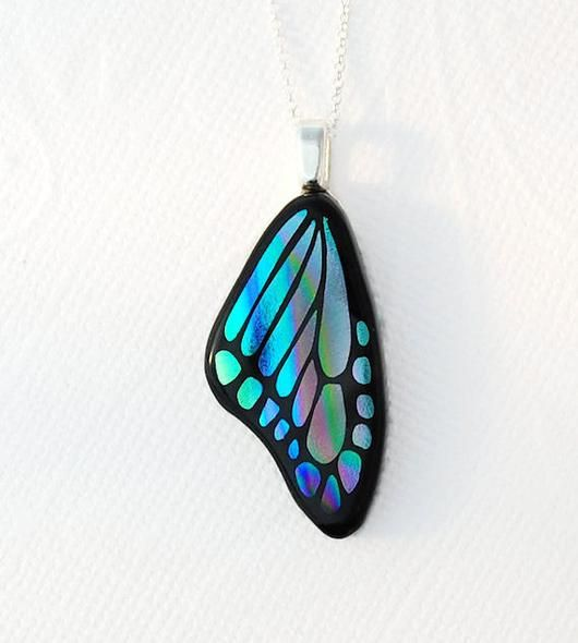 Butterfly Wing Dichroic Glass Pendant - by Sierra Art Glass