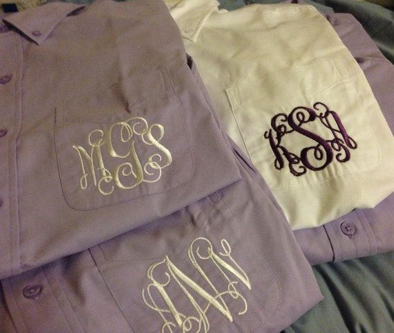 Button Up Monogrammed Womens Shirt - Oversized - Ladies Long Sleeve Oxford - White Black Navy Purple Grey - The Applewood Lane