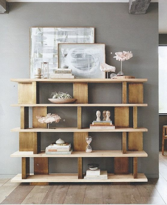 Roost Solari Wide Bookshelf Brass-clad vertical blocks with sand-blasted, solid elm wood for an elegantly functional piece of furniture.  Found at Modish  http://www.modishstore.com/collections/roost-solari-collection/products/roost-solari-wide-bookshelf