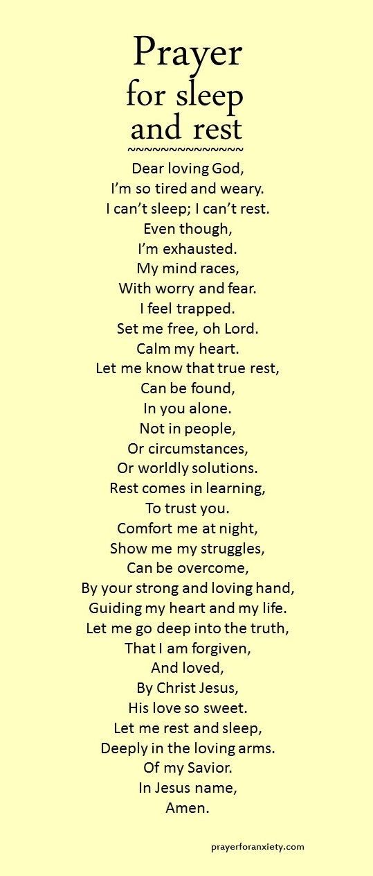 Let this prayer for sleep and rest inspire you to seek comfort in the Lord. True rest comes from learning to trust God. If we rely on our circumstances to give us peace, we can never sleep soundly. Instead, let the love and forgiveness of Christ bring calm to your heart.