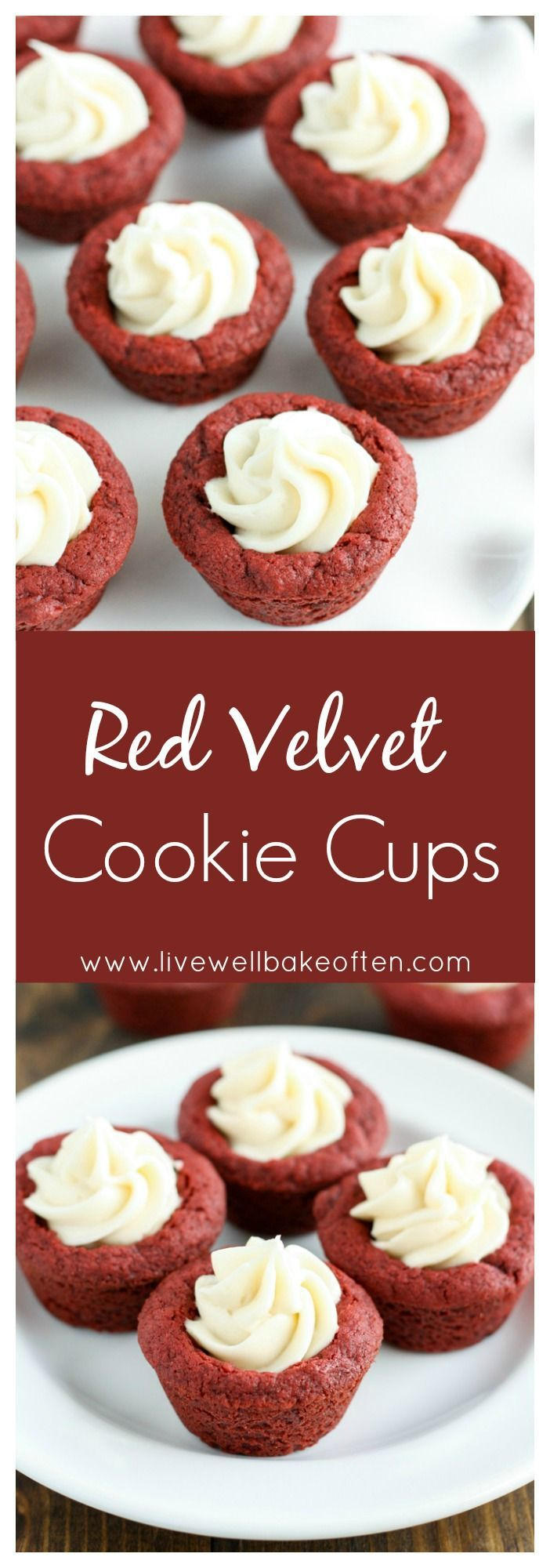 Red velvet cookie cups filled with a homemade cream cheese frosting!