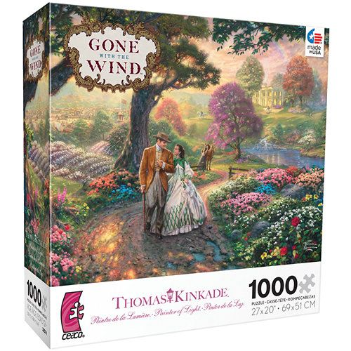 """Thomas Kinkade WB Movie Classics Gone with the Wind 1000 Piece Puzzle: The perfect pastime for anyone who loves the classic movie Gone with the Wind or the beautiful artwork of Thomas Kinkade! This 1000–piece jigsaw puzzle measures 27"""" x 20"""" when complete. For ages 13 and up. Made in the USA!   http://www.calendars.com/Thomas-Kinkade/Thomas-Kinkade-WB-Movie-Classics-Gone-with-the-Wind-1000-Piece-Puzzle/prod201400000434/?categoryId=cat200008=cat200008"""