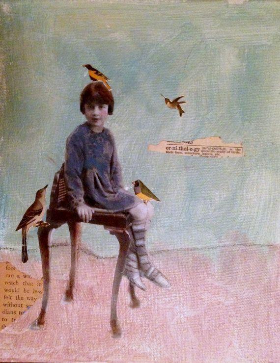 Ornithology vintage inspired mixed media portrait by MaudstarrArt
