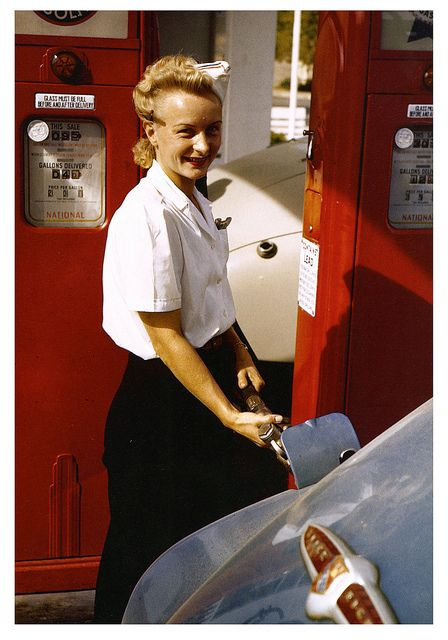 1944 Idaho,  Female gas station attendant filling the man power shortage due to war