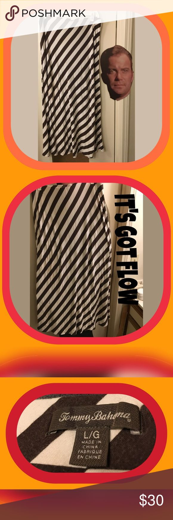🏝🏝 TOMMY BAHAMA MAXI SKIRT EUC 🏝🏝. 🏝🏝 TOMMY BAHAMA MAXI SKIRT EUC 🏝🏝.  🌸🌸THE STRIPES ARE BROWN AND NOT BLACK AS ORIGINALLY POSTED!  SORRY FOR ANY INCONVENIENCE THIS MIGHT HAVE CAUSED 🌸🌸. Authentic Tommy Bahama white with diagonal BROWN stripes Maxi Skirt. This skirt has some GREAT flow that goes with it.  EXCELLENT Condition!!  Size Large Tommy Bahama Skirts Maxi