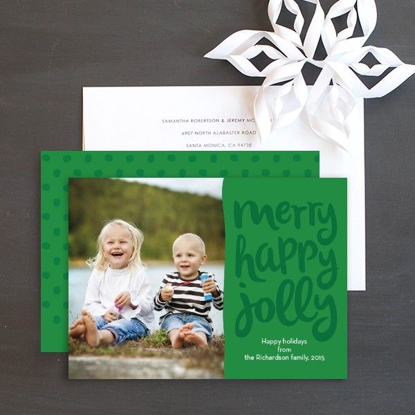 Festive Script Holiday Photo Cards by Ringleader Paper Co. | Elli