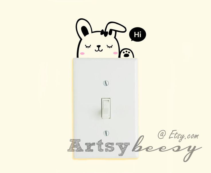 SwitchItUp Bunny Rabbit Light Switch Decal Funny Cute Animal Home Bedroom Bathroom Kitchen Dorm Room Dog Lover Wall Decal by ArtsyBeesy on Etsy https://www.etsy.com/listing/227835030/switchitup-bunny-rabbit-light-switch
