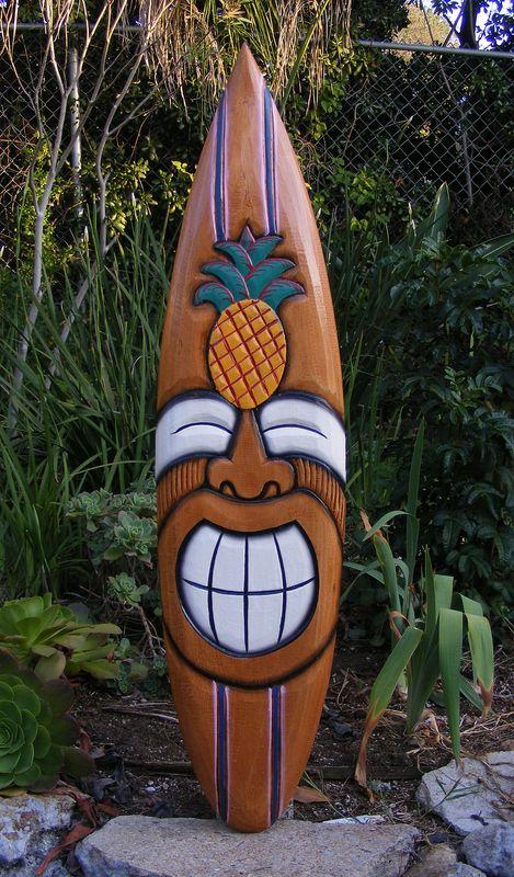 "Happy Tiki Pineapple Tropical Wood Surfboard Sign Wall Plaque Tiki Bar 38""...beach house"