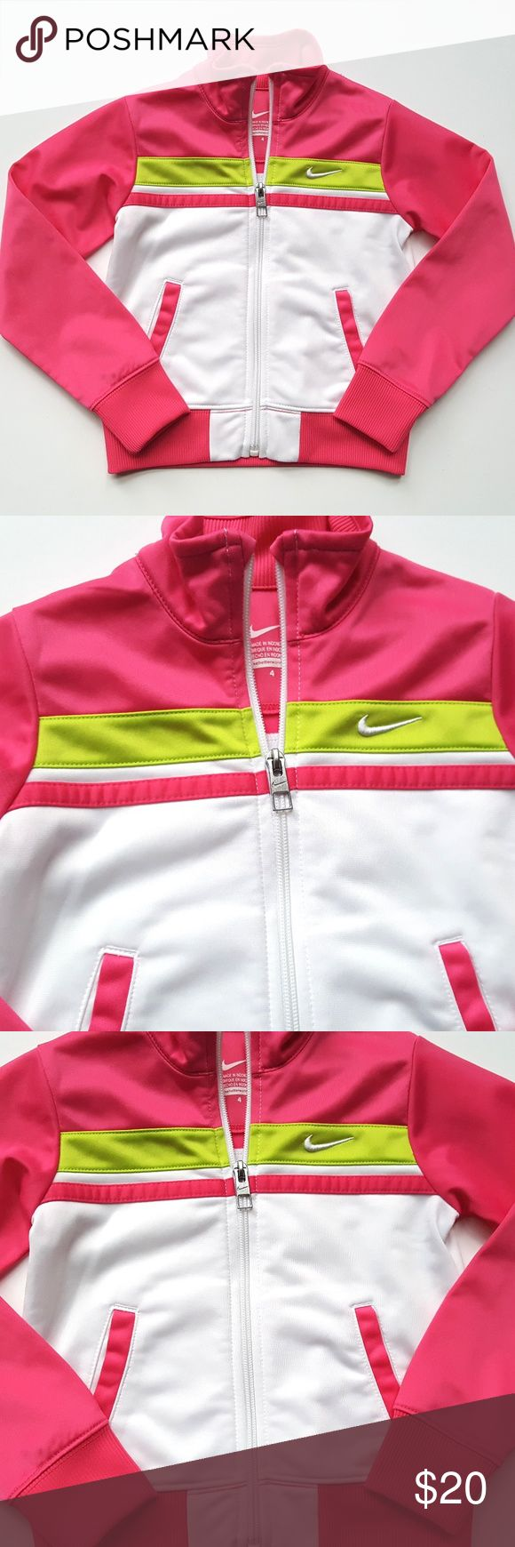 Nike Girls Pink & White Zip up Track Jacket Nike Girls Pink & White Zip up Track Jacket Athletic Sport  Size 4  Condition: EUC  My items come from a smoke-free household, we do have a kitty, so an occasional hair may occur! Nike Jackets & Coats