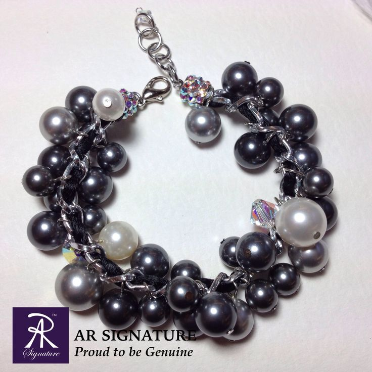 The Noir -- original designed by AR Signature & handmade using genuine Swarovski Elements, Swarovski Pearl, Silk, and aluminium chain  Visit our website : www.arsignature.com