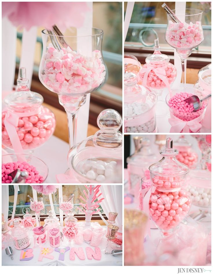 Pink white baby shower baby girl candy bar party ideas for Baby shower decoration themes for girls