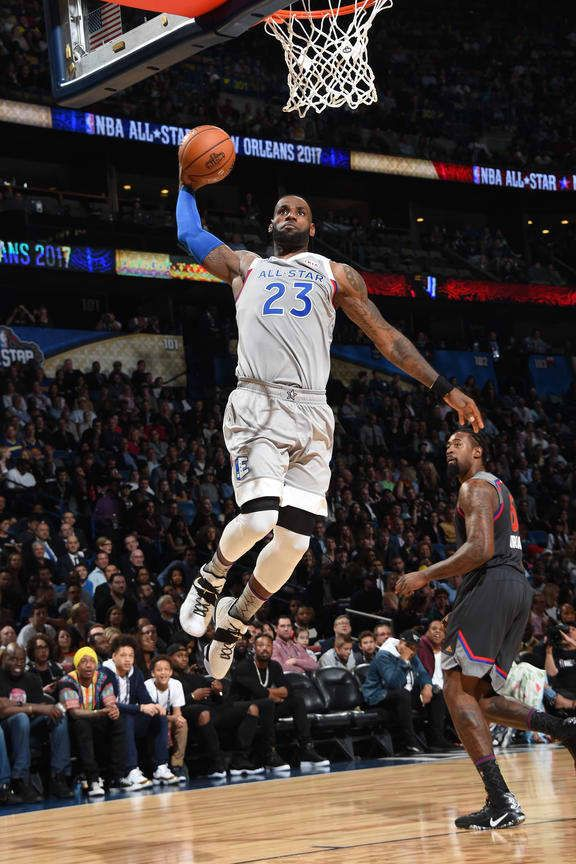 LeBron James #23 of the Eastern Conference All-Star Team drives to the basket against the Western Conference All-Star Team during the NBA All-Star Game as part of the 2017 NBA All Star Weekend on February 19, 2017 at the Smoothie King Center in New Orleans, Louisiana.