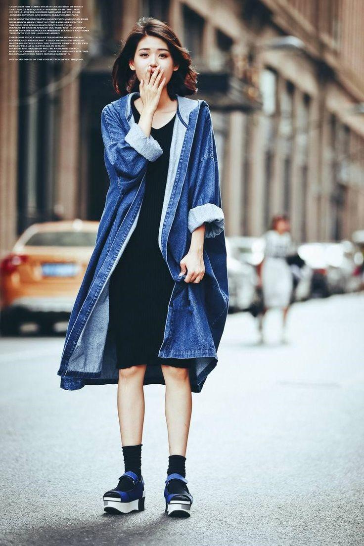 Style européen et Américain femmes lâche super long manteau veste de mode à capuchon denim long ouvert manteau veste livraison gratuite
