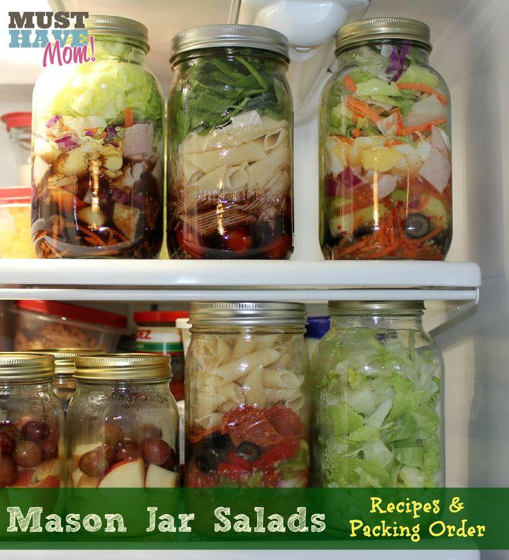 Mason Jar Salads With Recipes & Packing Order