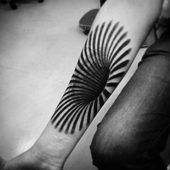 Male Forearm Optical Illusion 3d Spiral Unique Tattoo Ideas