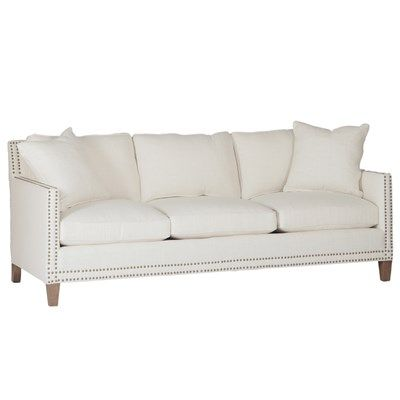 Beautiful White Sofa With Nailhead Trim Furniture Couch