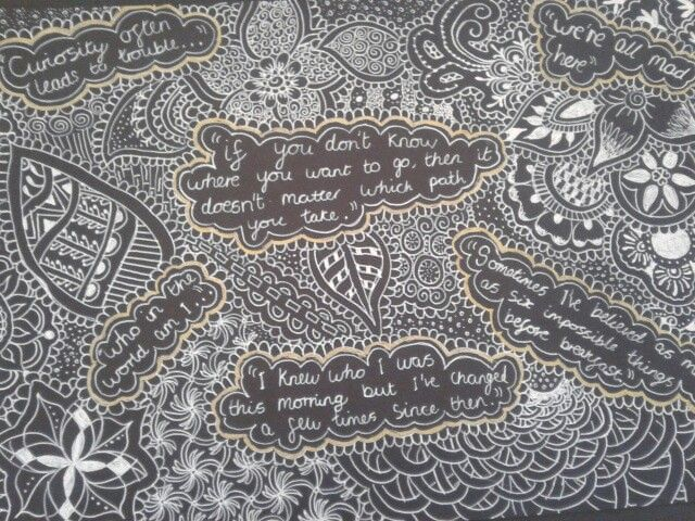 Mehndi Quotes For Her : Alice in wonderland quotes with mehndi and zentangles d