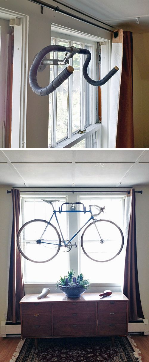 Creative Bike Storage • A round-up of the best bike storage we could find with many tutorials! Including from 'kyle wilson', this DIY wall bike rack that actually uses old handlebars as hooks!