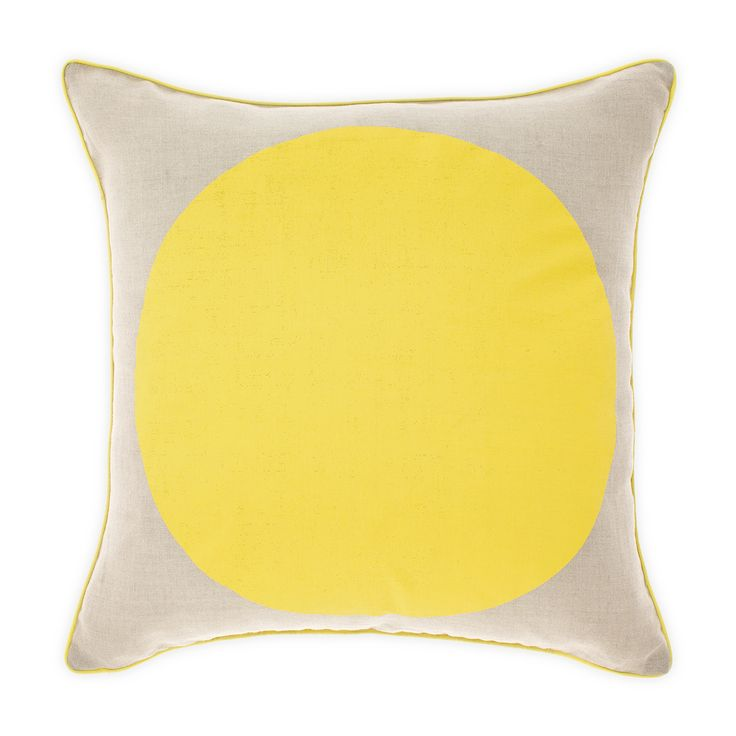 Spot the yellow! Aura Spot cushion, hand screen printed on pure linen.