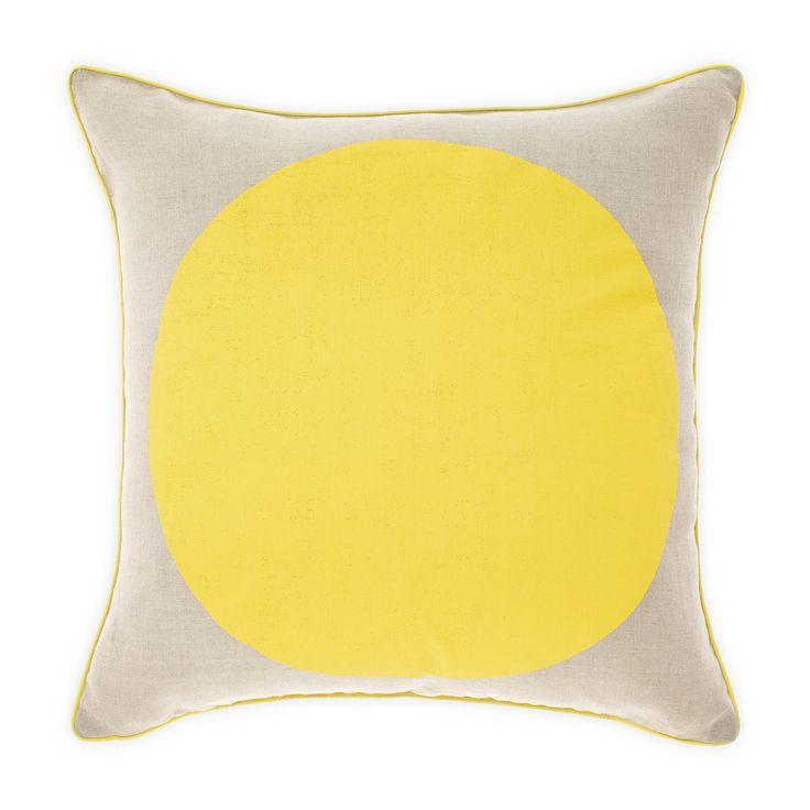 Spot the yellow! Aura Spot cushion, hand screen printed on pure linen.