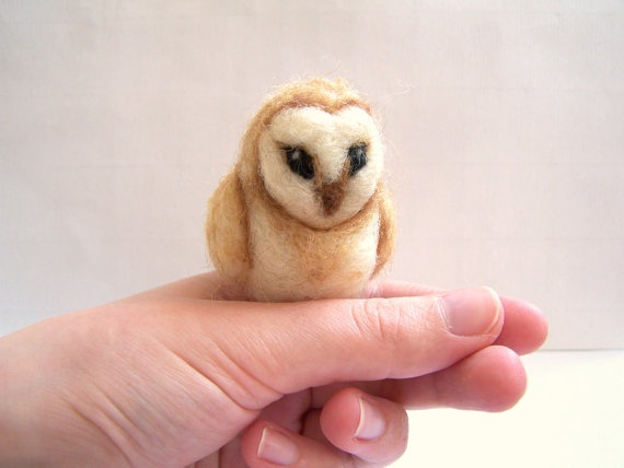 Needle Felted Owl Miniature Felt Barn Owl Sculpture by Knittynudo