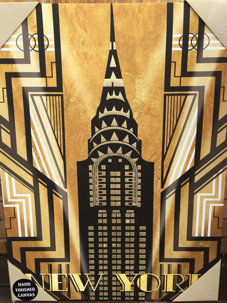 80x60 New York Empire State Canvas Wall Art Deco Gatsby Black Gold *Minor Faults
