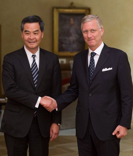 Hong Kong's leader, Chief Executive Leung Chun-ying is welcomed by King Philippe of Belgium prior to their meeting on 15 May 2014, at the Royal Palace in Brussels.