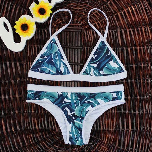 Brazilian Retro Bikini - Leaf Print - Swimwear - Bikini - I Sell Goods - 1